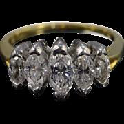 Platinum / 18K 1.33 Ctw 5 Stone Marquise Wedding Band Ring Size 6.25 Yellow Gold