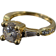 14K 3.00 Ctw Cubic Zirconia Travel Engagement Ring Size 5.5 Yellow Gold