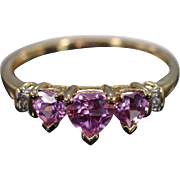 10K Pink & White CZ Heart Ring Size 7 Yellow Gold