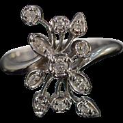 10K 0.20 Ctw Diamond Floral Ring Size 7 White Gold