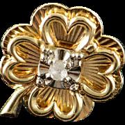 14K 4 Leaf Clover Lucky Irish Tie Pin  Yellow Gold