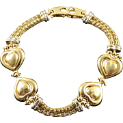 "14K Large Heart Link Two Tone Bracelet 7.5"" Yellow Gold"
