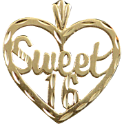 14K Sweet 16 Heart Number Year Old Birthday Charm/Pendant Yellow Gold
