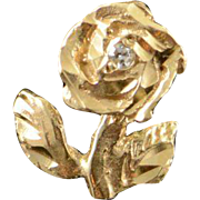 14K Carved 3D Rose Flower Charm/Pendant Yellow Gold