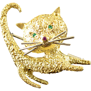 18K Designer Stylized Cat Emerald Ruby Pin/Brooch Yellow Gold