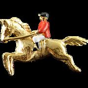 10K Red Black White Enamel Horse Jockey Tie Tack Lapel Pin/Brooch Yellow Gold