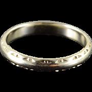 14K 3.3mm Vintage Pattern Wedding Band Ring Size 8 White Gold