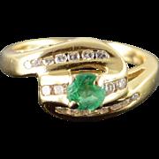 14K 0.40 CTW Emerald Diamond Ribbon Bypass Ring Size 6 Yellow Gold
