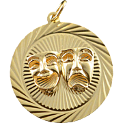 14K Comedy & Tragedy Theater Mask Circle Charm/Pendant Yellow Gold