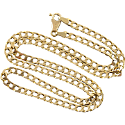 "14K Heavy Fancy Link Chain Necklace 18.5"" Yellow Gold"