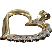 14K 0.10 Ctw Diamond Open Heart Pendant Yellow Gold