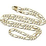 """10K Figaro Link Chain Two Tone HEAVY Necklace 22"""" Yellow Gold"""