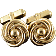 10K Swirl Knot Men's Shirt Cuff Link Yellow Gold