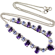 "14K 6.90 CTW Amethyst Tanzanite Diamond Feature Link Necklace 16.75"" White Gold"