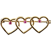 14K Genuine Ruby Triple Heart Pin/Brooch Yellow Gold