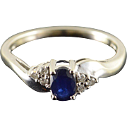 10K 0.49 CTW Sapphire Diamond Engagement Ring Size 7 White Gold