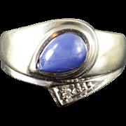 10K Created Star Sapphire Genuine Diamond Ring Size 5.75 White Gold