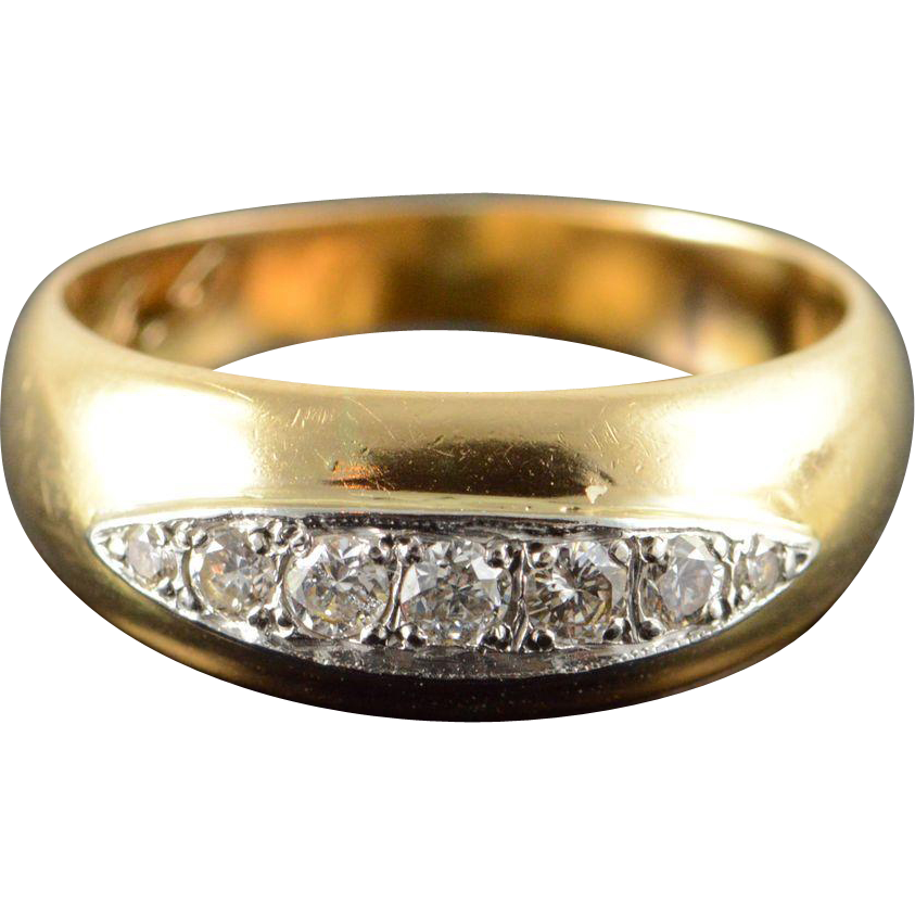 14K 0 33 CTW Diamond Inset Wedding Band Ring Size 9 5 Yellow Gold from curiou