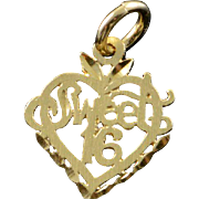 14K Sweet 16 Heart Cut Out Filigree Charm/Pendant Yellow Gold