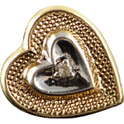14K Genuine Diamond Inset Two Tone Heart Lapel Pin Tie Tack  Yellow Gold