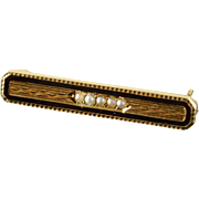 14K 1mm Seed Pearl Black Enamel Engraved Bar Pin/Brooch Yellow Gold
