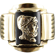 10K Sailor Warrior Black Onyx Inset Pinky Men's Ring Size 8.25 Yellow Gold