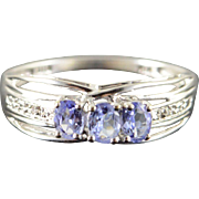 10K 0.34 CTW Tanzanite Diamond Ring Size 7 White Gold