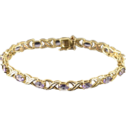 "10K 8.00 CTW Amethyst Hugs & Kisses Link Tennis Bracelet 7.25"" Yellow Gold"