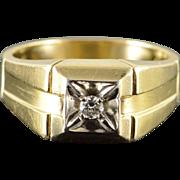 10K 0.07 CT Diamond Inset Bling Men's Ring Size 9.25 Yellow Gold