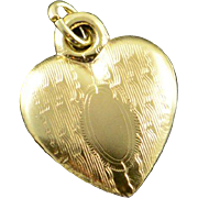 14K Engraved Kiddie Craft Puffy Heart Charm/Pendant Yellow Gold