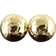 14K Dimpled Hammered 17.8mm Half Circle Stud Earrings Yellow Gold