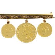 90%/10K 1855 $1.00 1859 $3.00 United States Coins Love Token Victorian Bar Pin/Brooch Yellow Gold