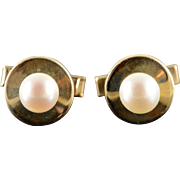 14K 9mm Pearl Circle Classic Men's Cuff Links Yellow Gold