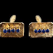 18K Blue Stone Men's Retro Cuff Links Yellow Gold