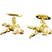 18K Designer Cherub 5mm Pearl Men's Cuff Links Yellow Gold