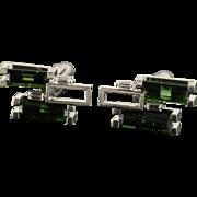 18K 4.25 CTW Green Tsavorite Garnet Diamond Geometric Men's Cuff Links White Gold