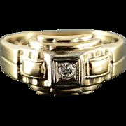 10K 0.06 CT Round Diamond Art Deco Thick Engagement Ring Size 7.75 Yellow Gold