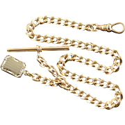"""Gold Filled Coat of Arms Ornate Link Fancy Pocket Watch Fob Chain  12"""""""