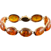 "14K Cabochon Amber Link Bracelet 7.75"" Yellow Gold"
