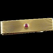 14K 0.10 CT Ruby Retro Tie Bar Sunburst  Yellow Gold