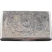 Sterling Silver Yapp & Woodward , Birmingham Intricate Pill/Match/Snuff Box    [QPQX]