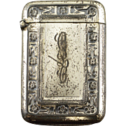 Sterling Silver Wallace Monogrammed Floral Motif Vesta Match Case