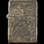 925 Sterling Silver Floral Motif Vesta Match Case