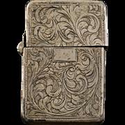 925 Sterling Silver Ornate Floral Motif Match Case