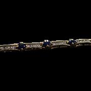 "10K 2.67 Ctw Diamond Sapphire Tennis Bracelet Bracelet 7"" Yellow Gold"