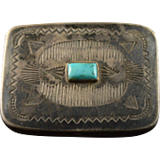 Sterling Silver Turquoise Native American Design Motif Trinket/Snuff/Pill Box