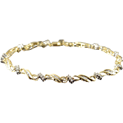 "10K 0.75 CTW Diamond Infinity Link Tennis Bracelet 7.25"" Yellow Gold"