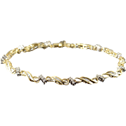 "10K 0.75 CTW Diamond Infinity Link Tennis Bracelet 7.25"" Yellow Gold  [QPQX]"
