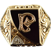 10K A P R Victorian Black Onyx Diamond Initial Letter Monogram Ring Size 7.75 Yellow Gold