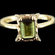14K 1.00 CT Green Tourmaline Ring Size 6 Yellow Gold